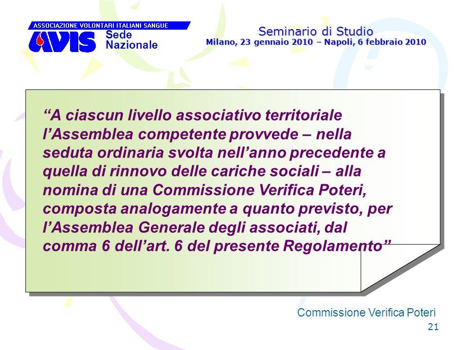 21 Seminario di Studio Milano, 23 gennaio 2010 – Napoli, 6 febbraio 2010 Sede Nazionale Commissione Verifica Poteri [ A ciascun livello associativo te