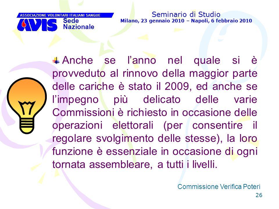 26 Seminario di Studio Milano, 23 gennaio 2010 – Napoli, 6 febbraio 2010 Sede Nazionale Commissione Verifica Poteri [ Anche se lanno nel quale si è pr