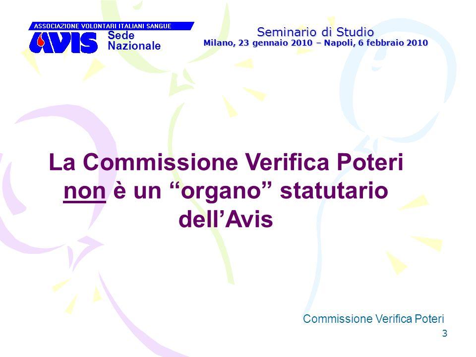 64 Seminario di Studio Milano, 23 gennaio 2010 – Napoli, 6 febbraio 2010 Sede Nazionale Commissione Verifica Poteri [ Accreditamento delegati dei soci persone fisiche Si rinvia a quanto detto a proposito dellAvis Regionale