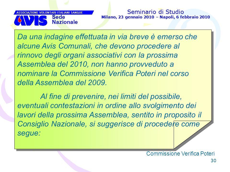 30 Seminario di Studio Milano, 23 gennaio 2010 – Napoli, 6 febbraio 2010 Sede Nazionale Commissione Verifica Poteri [ Da una indagine effettuata in vi