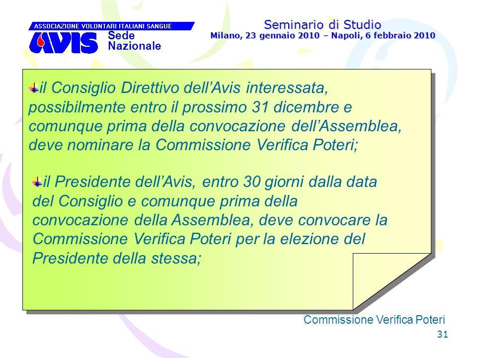 31 Seminario di Studio Milano, 23 gennaio 2010 – Napoli, 6 febbraio 2010 Sede Nazionale Commissione Verifica Poteri [ il Consiglio Direttivo dellAvis