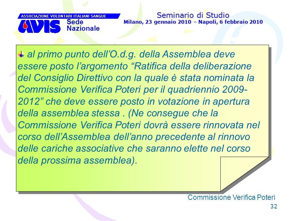 32 Seminario di Studio Milano, 23 gennaio 2010 – Napoli, 6 febbraio 2010 Sede Nazionale Commissione Verifica Poteri [ al primo punto dellO.d.g. della