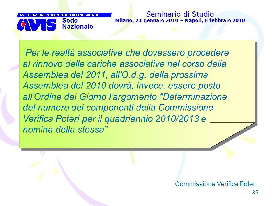 33 Seminario di Studio Milano, 23 gennaio 2010 – Napoli, 6 febbraio 2010 Sede Nazionale Commissione Verifica Poteri [ Per le realtà associative che do