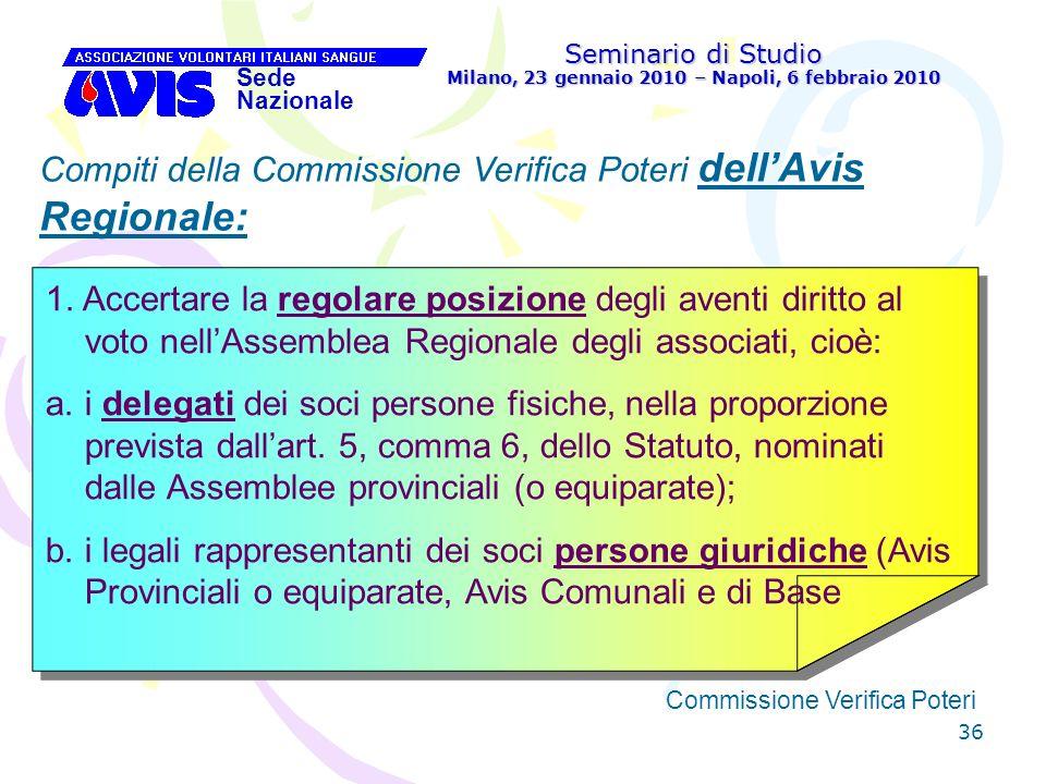36 Seminario di Studio Milano, 23 gennaio 2010 – Napoli, 6 febbraio 2010 Sede Nazionale Commissione Verifica Poteri [ Compiti della Commissione Verifi