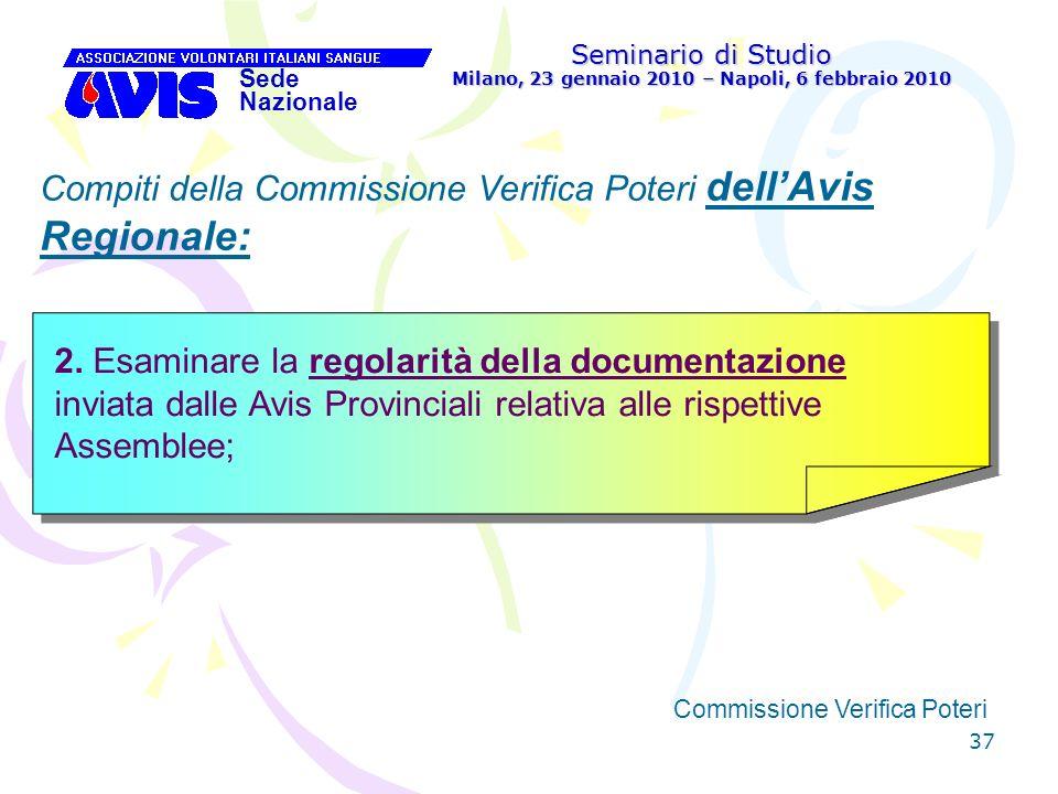 37 Seminario di Studio Milano, 23 gennaio 2010 – Napoli, 6 febbraio 2010 Sede Nazionale Commissione Verifica Poteri [ Compiti della Commissione Verifi