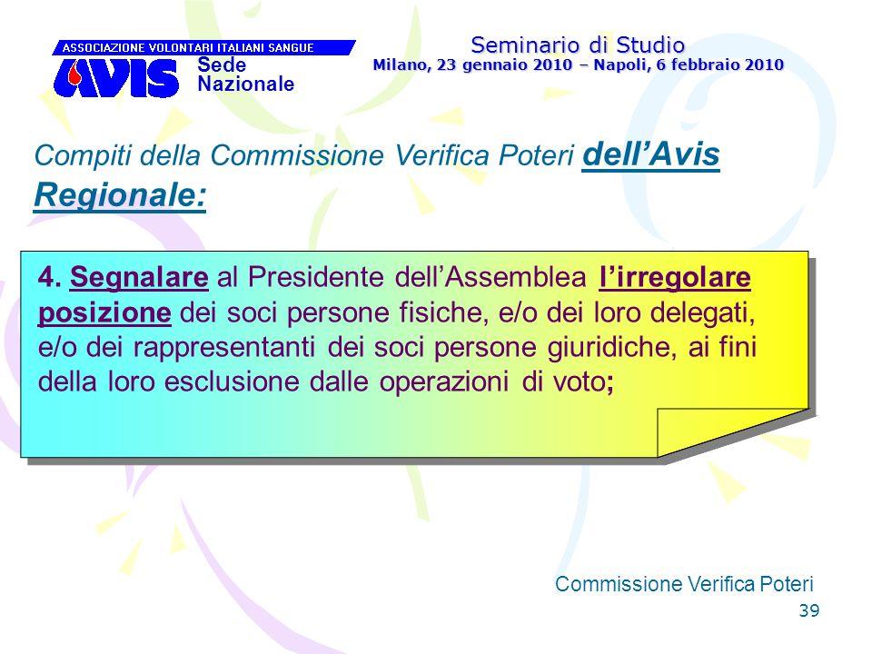 39 Seminario di Studio Milano, 23 gennaio 2010 – Napoli, 6 febbraio 2010 Sede Nazionale Commissione Verifica Poteri [ Compiti della Commissione Verifi