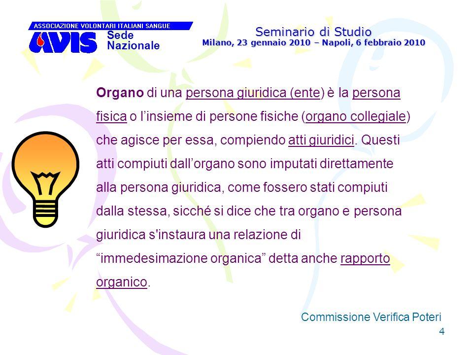 15 Seminario di Studio Milano, 23 gennaio 2010 – Napoli, 6 febbraio 2010 Sede Nazionale Commissione Verifica Poteri [ Da quanto sopra appare chiaro che la Commissione non ha alcun potere normativo o decisionale: le sue indicazioni hanno solo valore certificativo per lAssemblea, cui compete il potere deliberativo.