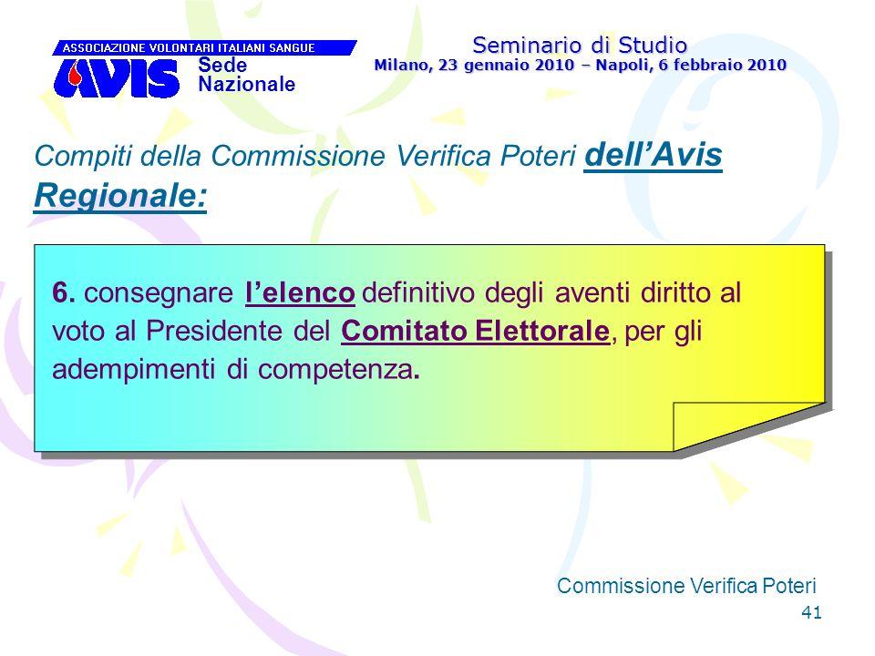 41 Seminario di Studio Milano, 23 gennaio 2010 – Napoli, 6 febbraio 2010 Sede Nazionale Commissione Verifica Poteri [ Compiti della Commissione Verifi