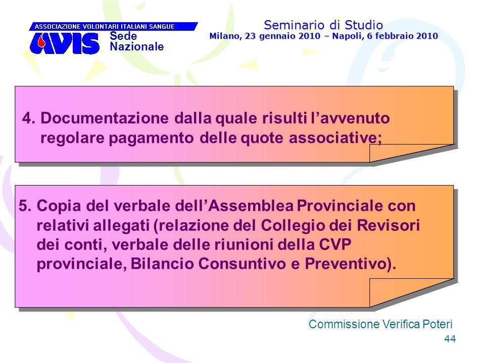 44 Seminario di Studio Milano, 23 gennaio 2010 – Napoli, 6 febbraio 2010 Sede Nazionale Commissione Verifica Poteri [ 4.Documentazione dalla quale ris
