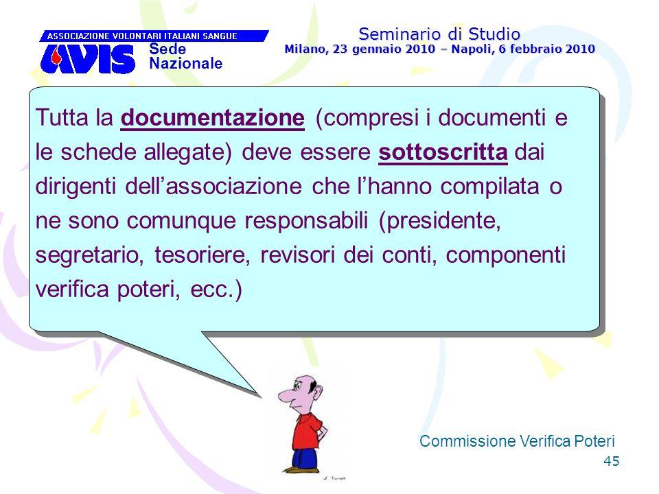 45 Seminario di Studio Milano, 23 gennaio 2010 – Napoli, 6 febbraio 2010 Sede Nazionale Commissione Verifica Poteri [ Tutta la documentazione (compres