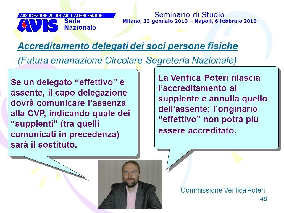 48 Seminario di Studio Milano, 23 gennaio 2010 – Napoli, 6 febbraio 2010 Sede Nazionale Commissione Verifica Poteri [ Accreditamento delegati dei soci
