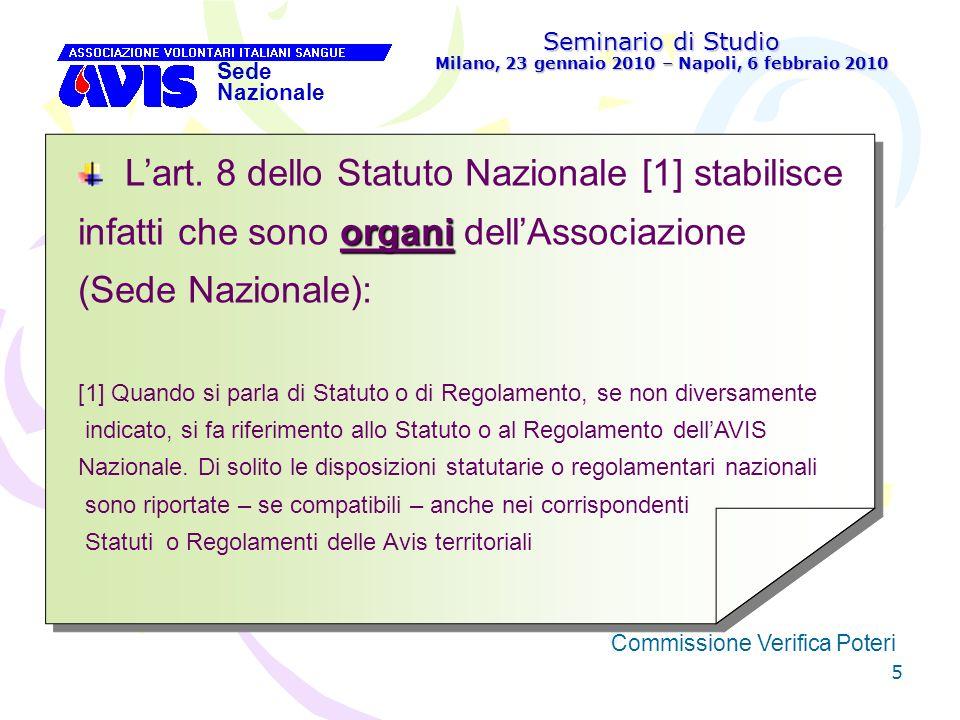36 Seminario di Studio Milano, 23 gennaio 2010 – Napoli, 6 febbraio 2010 Sede Nazionale Commissione Verifica Poteri [ Compiti della Commissione Verifica Poteri dellAvis Regionale: 1.