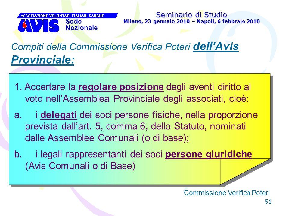 51 Seminario di Studio Milano, 23 gennaio 2010 – Napoli, 6 febbraio 2010 Sede Nazionale Commissione Verifica Poteri [ Compiti della Commissione Verifi