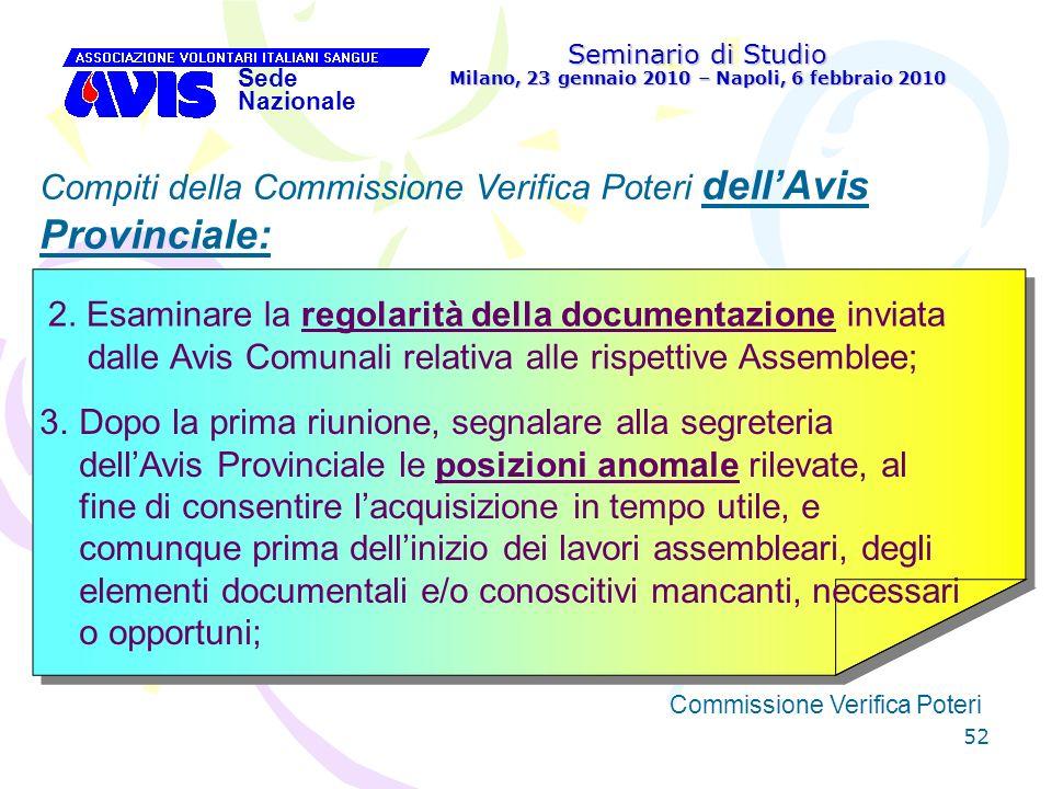 52 Seminario di Studio Milano, 23 gennaio 2010 – Napoli, 6 febbraio 2010 Sede Nazionale Commissione Verifica Poteri [ Compiti della Commissione Verifi