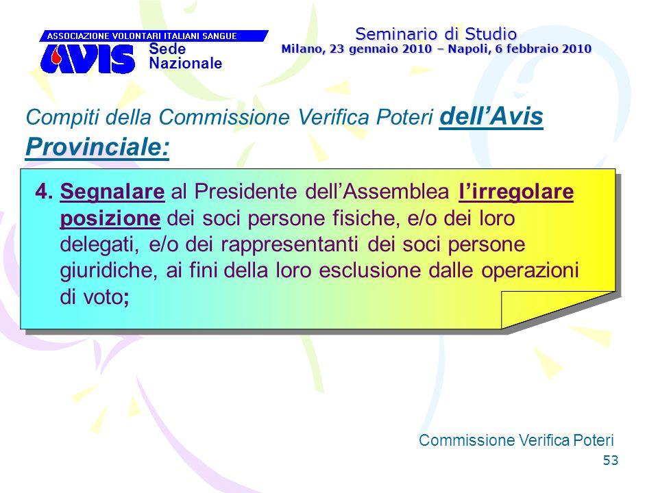 53 Seminario di Studio Milano, 23 gennaio 2010 – Napoli, 6 febbraio 2010 Sede Nazionale Commissione Verifica Poteri [ Compiti della Commissione Verifi