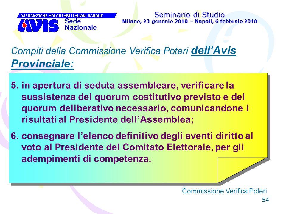 54 Seminario di Studio Milano, 23 gennaio 2010 – Napoli, 6 febbraio 2010 Sede Nazionale Commissione Verifica Poteri [ Compiti della Commissione Verifi