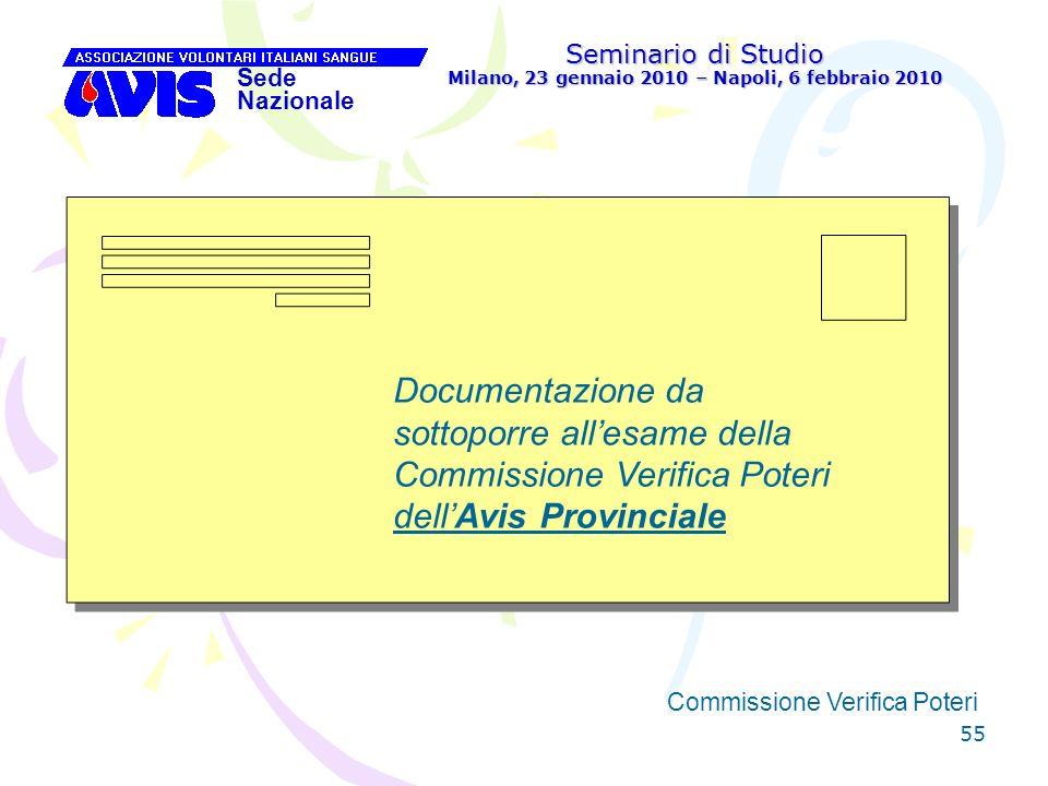 55 Seminario di Studio Milano, 23 gennaio 2010 – Napoli, 6 febbraio 2010 Sede Nazionale Commissione Verifica Poteri [ Documentazione da sottoporre all