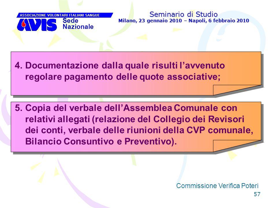57 Seminario di Studio Milano, 23 gennaio 2010 – Napoli, 6 febbraio 2010 Sede Nazionale Commissione Verifica Poteri [ 4.Documentazione dalla quale ris