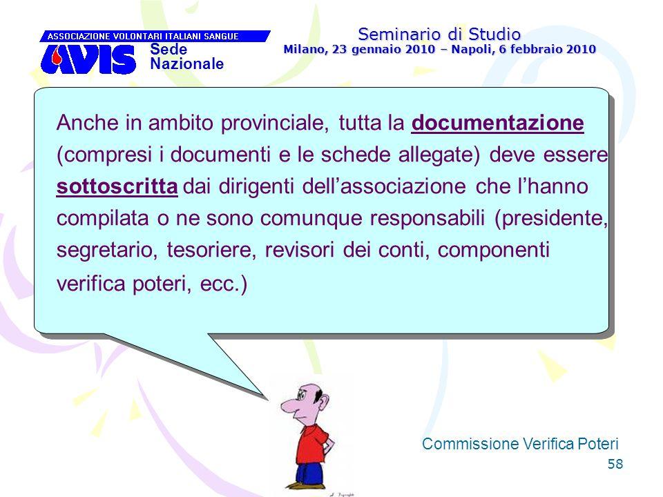 58 Seminario di Studio Milano, 23 gennaio 2010 – Napoli, 6 febbraio 2010 Sede Nazionale Commissione Verifica Poteri [ Anche in ambito provinciale, tut
