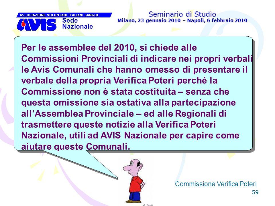 59 Seminario di Studio Milano, 23 gennaio 2010 – Napoli, 6 febbraio 2010 Sede Nazionale Commissione Verifica Poteri [ Per le assemblee del 2010, si ch