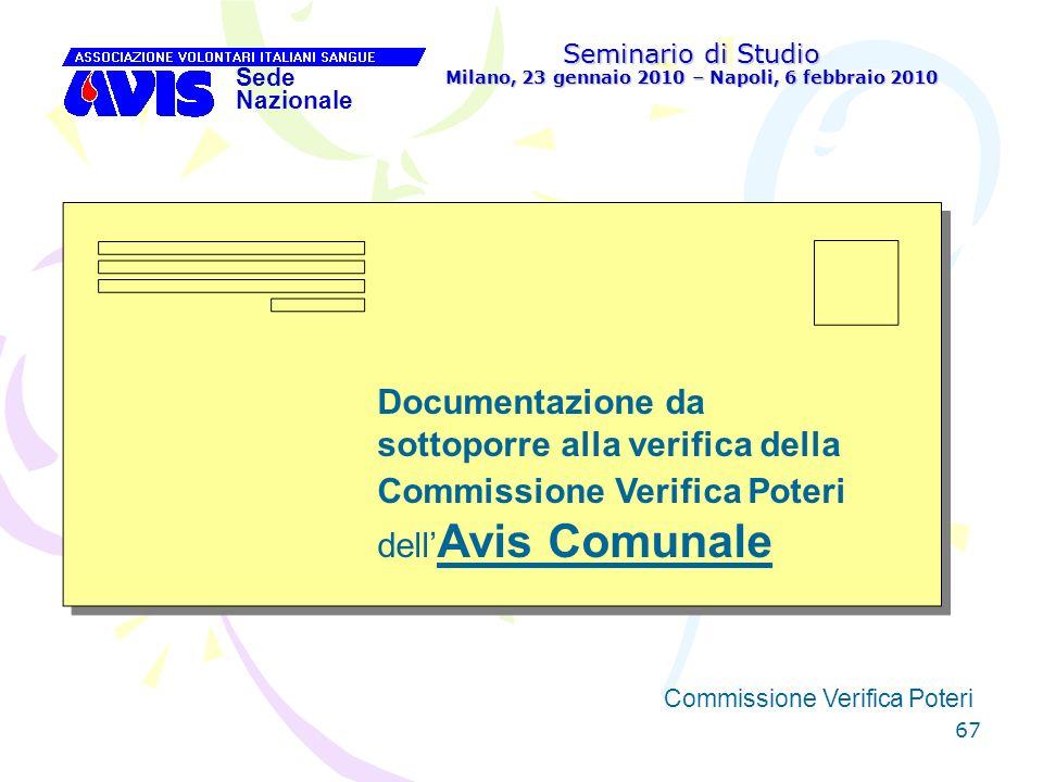 67 Seminario di Studio Milano, 23 gennaio 2010 – Napoli, 6 febbraio 2010 Sede Nazionale Commissione Verifica Poteri [ Documentazione da sottoporre all