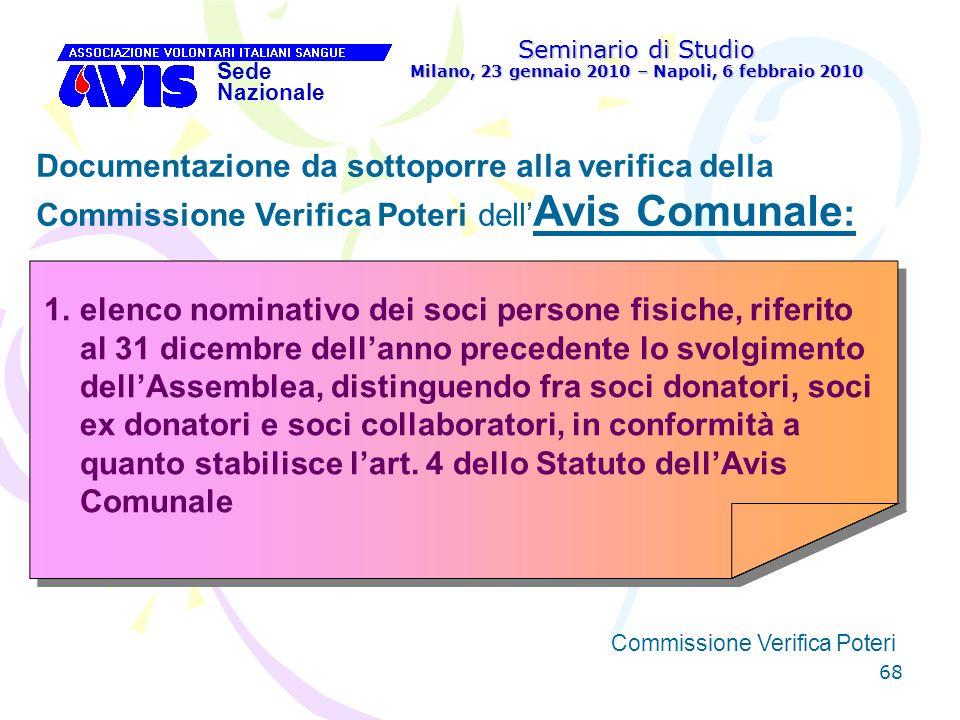 68 Seminario di Studio Milano, 23 gennaio 2010 – Napoli, 6 febbraio 2010 Sede Nazionale Commissione Verifica Poteri [ Documentazione da sottoporre all