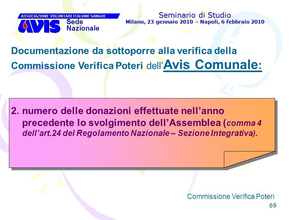 69 Seminario di Studio Milano, 23 gennaio 2010 – Napoli, 6 febbraio 2010 Sede Nazionale Commissione Verifica Poteri [ Documentazione da sottoporre all