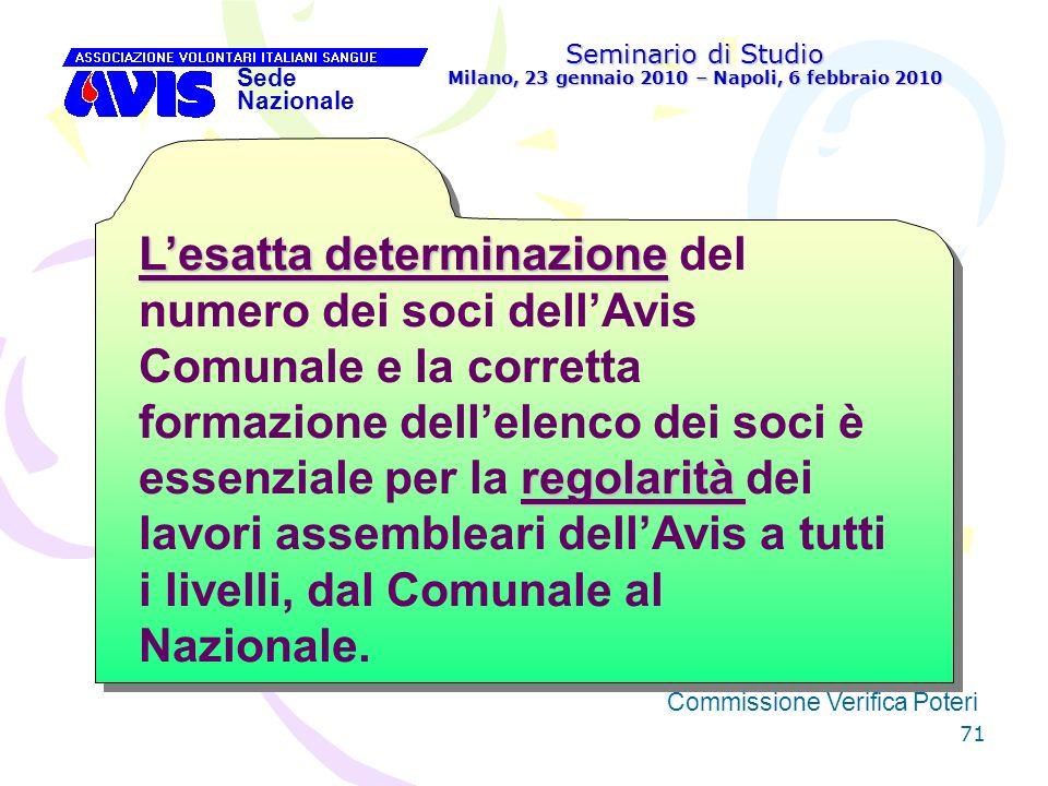 71 Seminario di Studio Milano, 23 gennaio 2010 – Napoli, 6 febbraio 2010 Sede Nazionale Commissione Verifica Poteri [ Lesatta determinazione regolarit