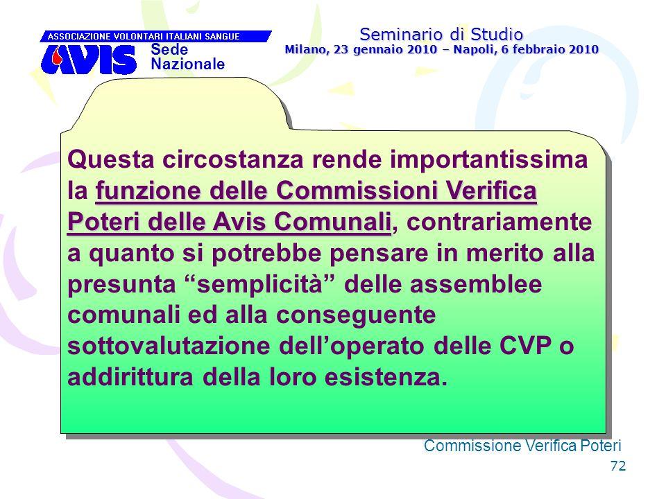 72 Seminario di Studio Milano, 23 gennaio 2010 – Napoli, 6 febbraio 2010 Sede Nazionale Commissione Verifica Poteri [ funzione delle Commissioni Verif