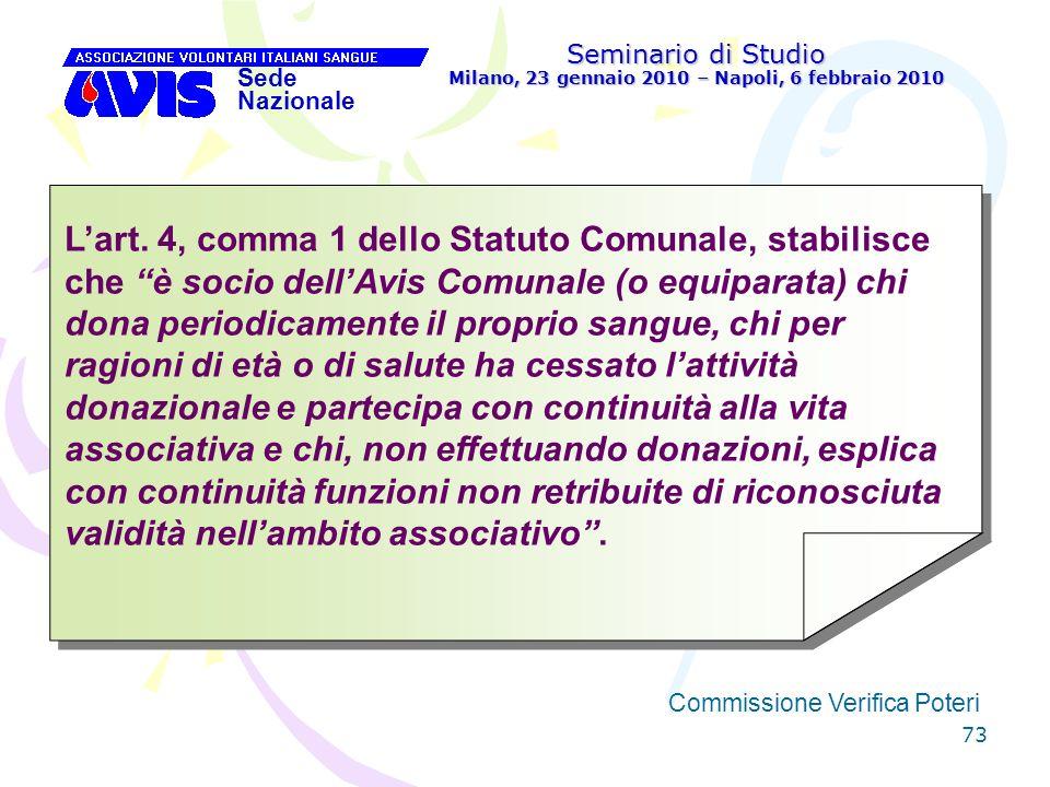 73 Seminario di Studio Milano, 23 gennaio 2010 – Napoli, 6 febbraio 2010 Sede Nazionale Commissione Verifica Poteri [ Lart. 4, comma 1 dello Statuto C