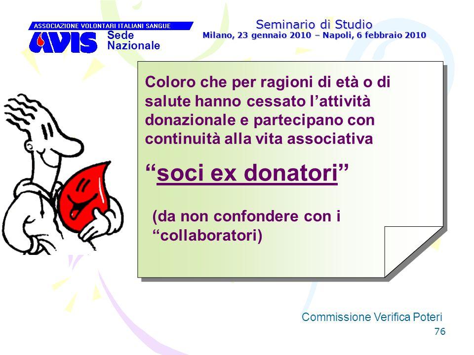 76 Seminario di Studio Milano, 23 gennaio 2010 – Napoli, 6 febbraio 2010 Sede Nazionale Commissione Verifica Poteri [ Coloro che per ragioni di età o