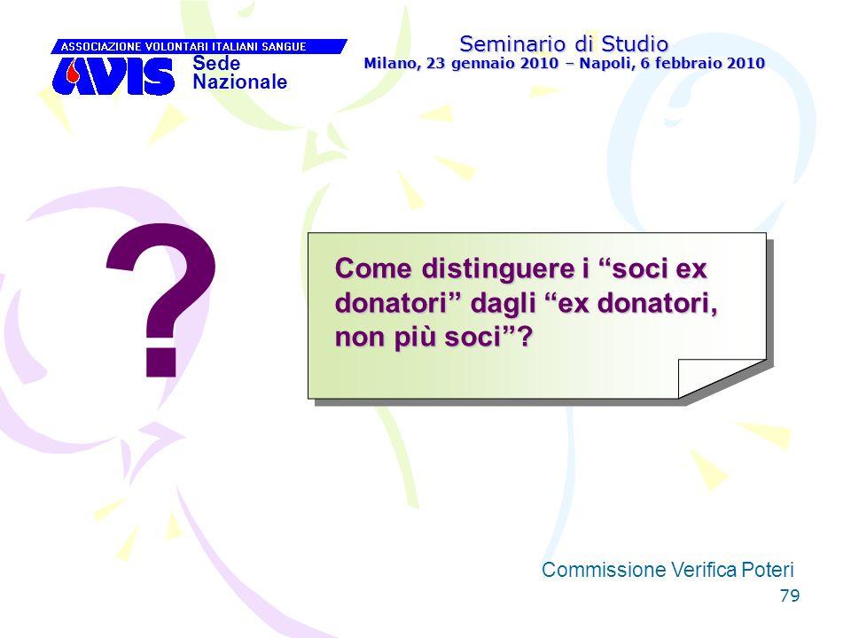 79 Seminario di Studio Milano, 23 gennaio 2010 – Napoli, 6 febbraio 2010 Sede Nazionale Commissione Verifica Poteri [ Come distinguere i soci ex donat