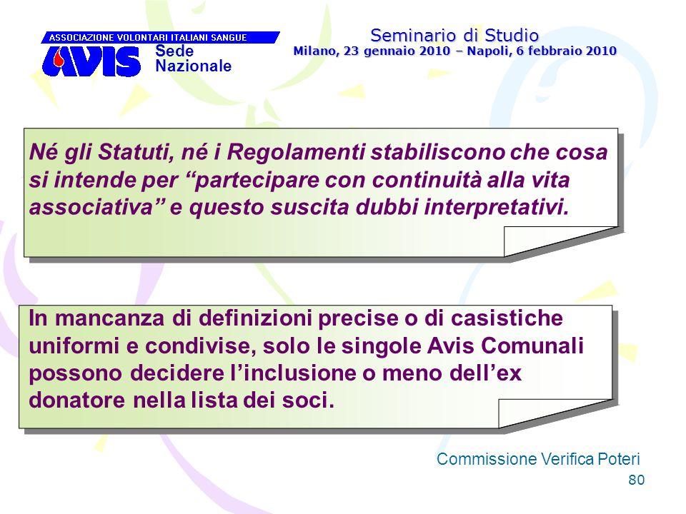 80 Seminario di Studio Milano, 23 gennaio 2010 – Napoli, 6 febbraio 2010 Sede Nazionale Commissione Verifica Poteri [ Né gli Statuti, né i Regolamenti