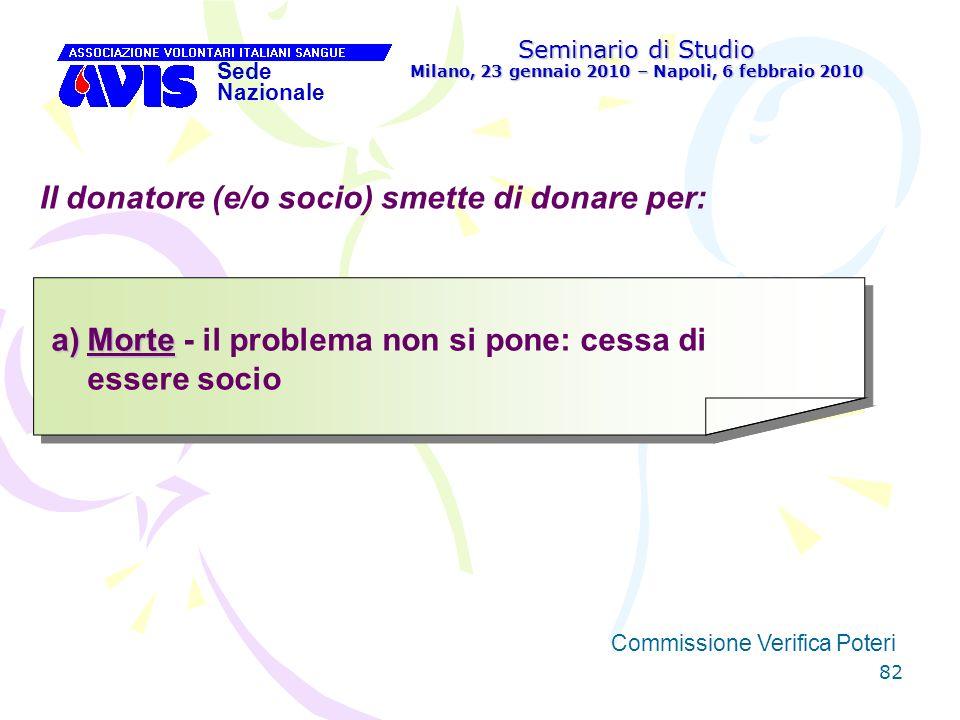 82 Seminario di Studio Milano, 23 gennaio 2010 – Napoli, 6 febbraio 2010 Sede Nazionale Commissione Verifica Poteri [ Il donatore (e/o socio) smette d