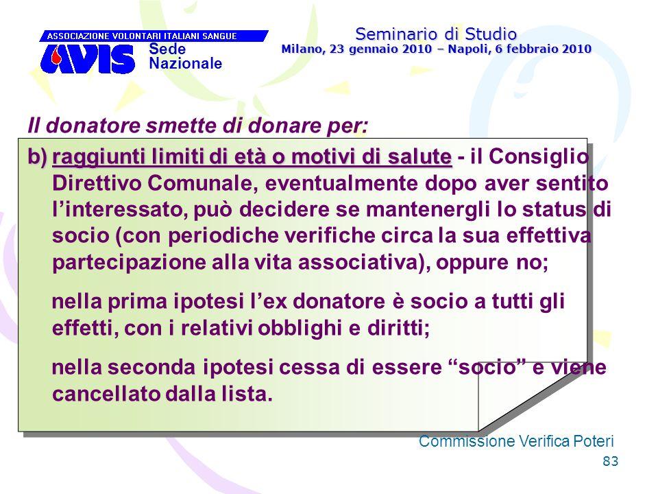 83 Seminario di Studio Milano, 23 gennaio 2010 – Napoli, 6 febbraio 2010 Sede Nazionale Commissione Verifica Poteri [ Il donatore smette di donare per