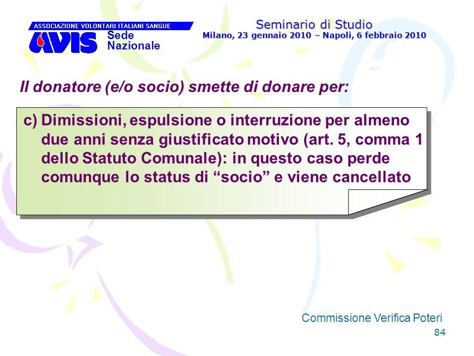 84 Seminario di Studio Milano, 23 gennaio 2010 – Napoli, 6 febbraio 2010 Sede Nazionale Commissione Verifica Poteri [ Il donatore (e/o socio) smette d