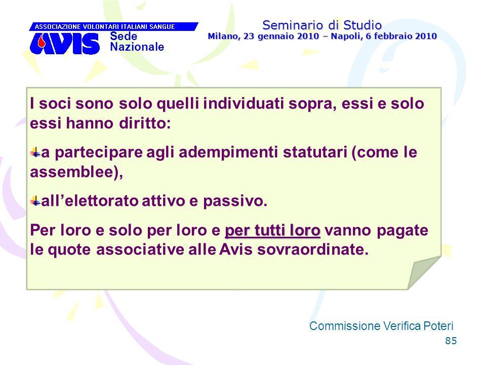 85 Seminario di Studio Milano, 23 gennaio 2010 – Napoli, 6 febbraio 2010 Sede Nazionale Commissione Verifica Poteri [ I soci sono solo quelli individu
