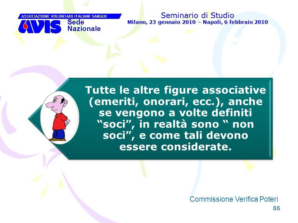 86 Seminario di Studio Milano, 23 gennaio 2010 – Napoli, 6 febbraio 2010 Sede Nazionale Commissione Verifica Poteri [ Tutte le altre figure associativ
