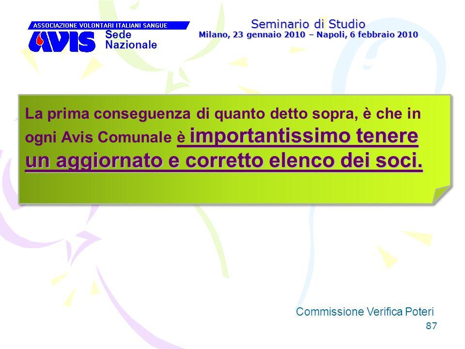 87 Seminario di Studio Milano, 23 gennaio 2010 – Napoli, 6 febbraio 2010 Sede Nazionale Commissione Verifica Poteri [ importantissimo tenere un aggior