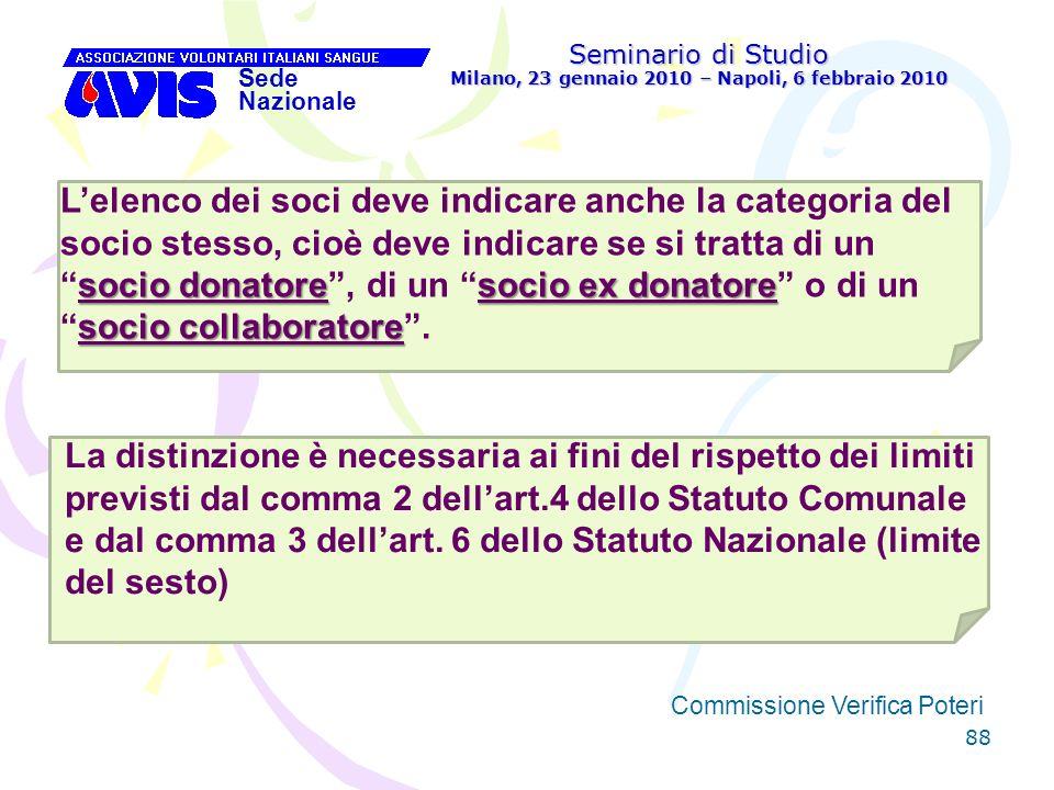 88 Seminario di Studio Milano, 23 gennaio 2010 – Napoli, 6 febbraio 2010 Sede Nazionale Commissione Verifica Poteri [ socio donatoresocio ex donatore