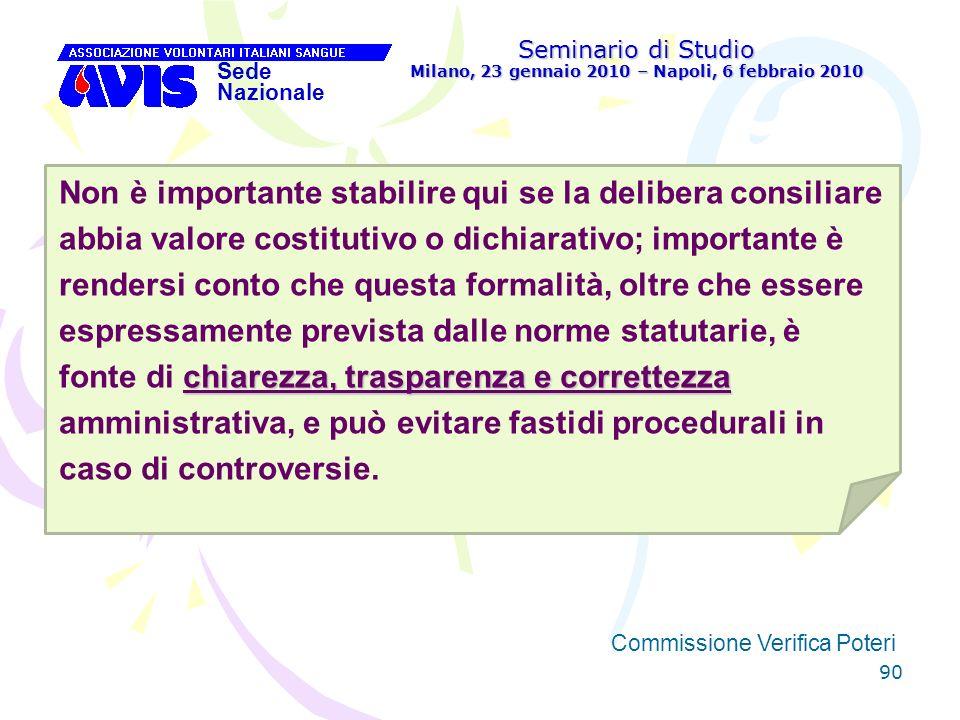 90 Seminario di Studio Milano, 23 gennaio 2010 – Napoli, 6 febbraio 2010 Sede Nazionale Commissione Verifica Poteri [ chiarezza, trasparenza e corrett