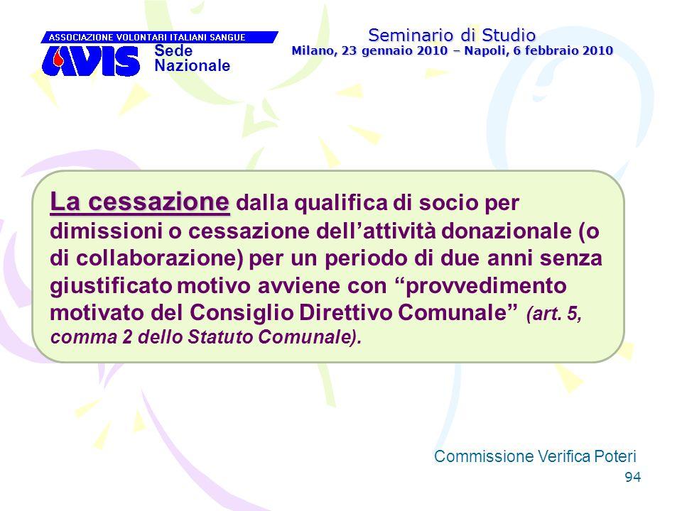 94 Seminario di Studio Milano, 23 gennaio 2010 – Napoli, 6 febbraio 2010 Sede Nazionale Commissione Verifica Poteri [ La cessazione La cessazione dall