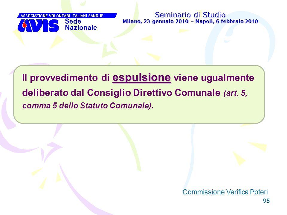 95 Seminario di Studio Milano, 23 gennaio 2010 – Napoli, 6 febbraio 2010 Sede Nazionale Commissione Verifica Poteri [ espulsione Il provvedimento di e