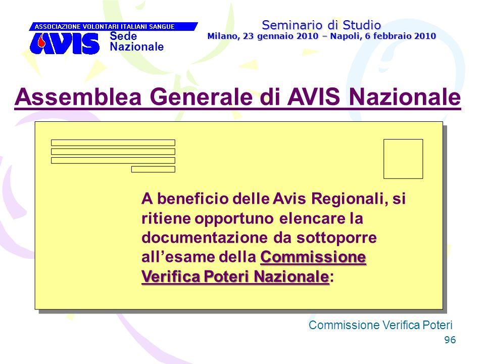 96 Seminario di Studio Milano, 23 gennaio 2010 – Napoli, 6 febbraio 2010 Sede Nazionale Commissione Verifica Poteri [ Assemblea Generale di AVIS Nazio