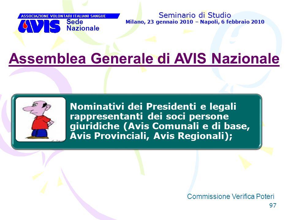 97 Seminario di Studio Milano, 23 gennaio 2010 – Napoli, 6 febbraio 2010 Sede Nazionale Commissione Verifica Poteri [ Assemblea Generale di AVIS Nazio