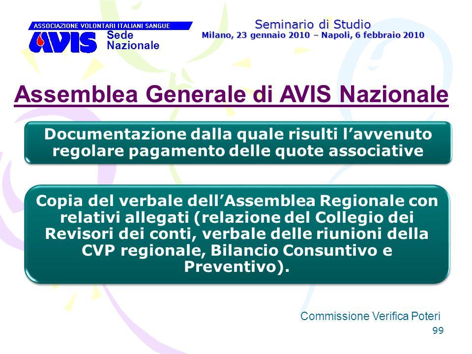 99 Seminario di Studio Milano, 23 gennaio 2010 – Napoli, 6 febbraio 2010 Sede Nazionale Commissione Verifica Poteri [ Assemblea Generale di AVIS Nazio