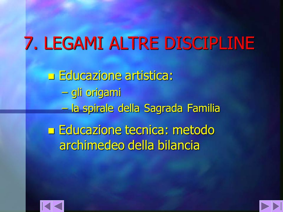 7. LEGAMI ALTRE DISCIPLINE n Educazione artistica: – gli origami – la spirale della Sagrada Familia n Educazione tecnica: metodo archimedeo della bila