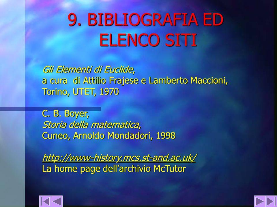 9. BIBLIOGRAFIA ED ELENCO SITI Gli Elementi di Euclide, a cura di Attilio Frajese e Lamberto Maccioni, Torino, UTET, 1970 C. B. Boyer, Storia della ma