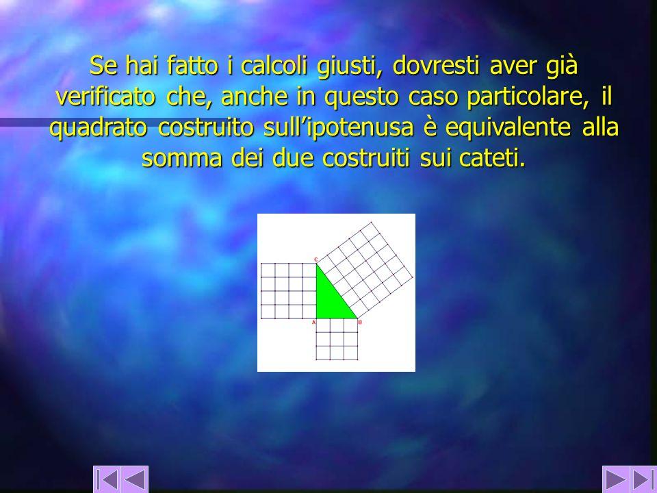 Se hai fatto i calcoli giusti, dovresti aver già verificato che, anche in questo caso particolare, il quadrato costruito sullipotenusa è equivalente a