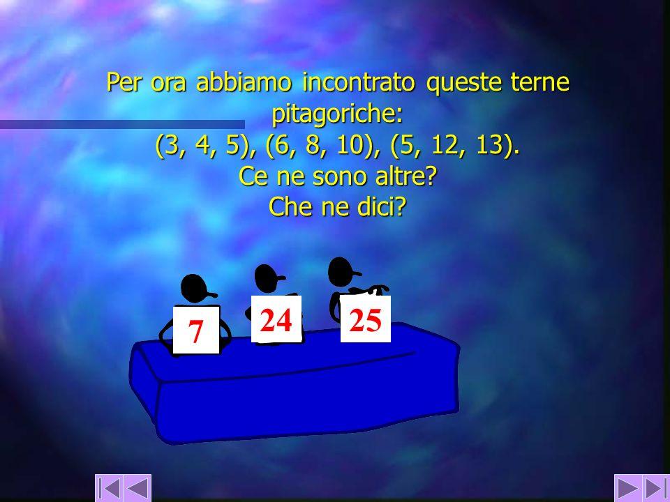 Per ora abbiamo incontrato queste terne pitagoriche: (3, 4, 5), (6, 8, 10), (5, 12, 13). Ce ne sono altre? Che ne dici? 7 2425